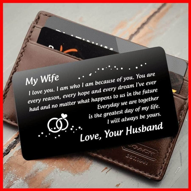 ENGRAVED BLACK WALLET INSERT CARD- MY WIFE - I LOVE YOU - X5417