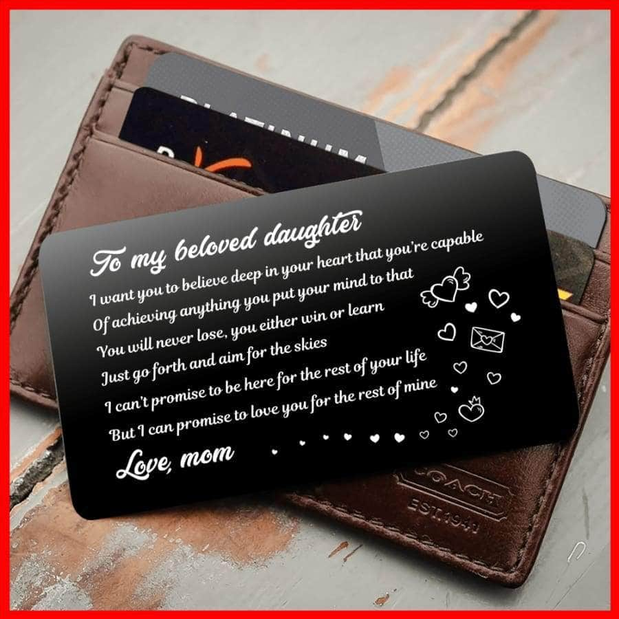 ENGRAVED BLACK WALLET INSERT CARD- TO MY DAUGHTER, I LOVE YOU - X5415
