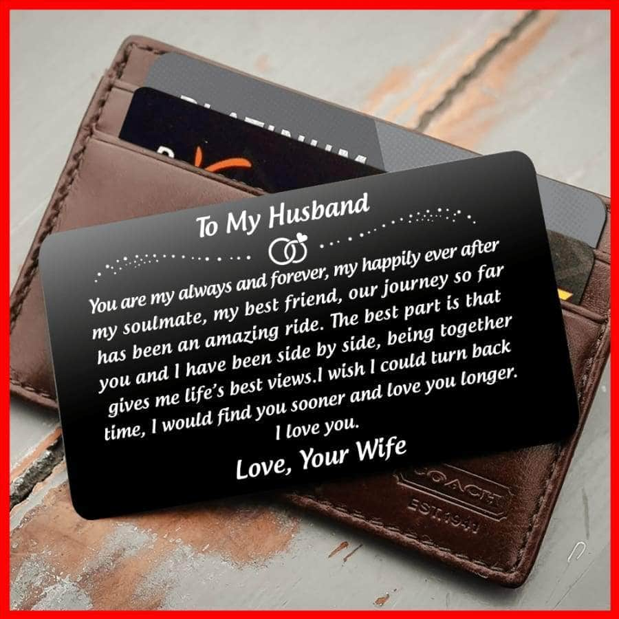 ENGRAVED BLACK WALLET INSERT CARD- TO MY HUSBAND- HAPPILY EVER AFTER - X5405