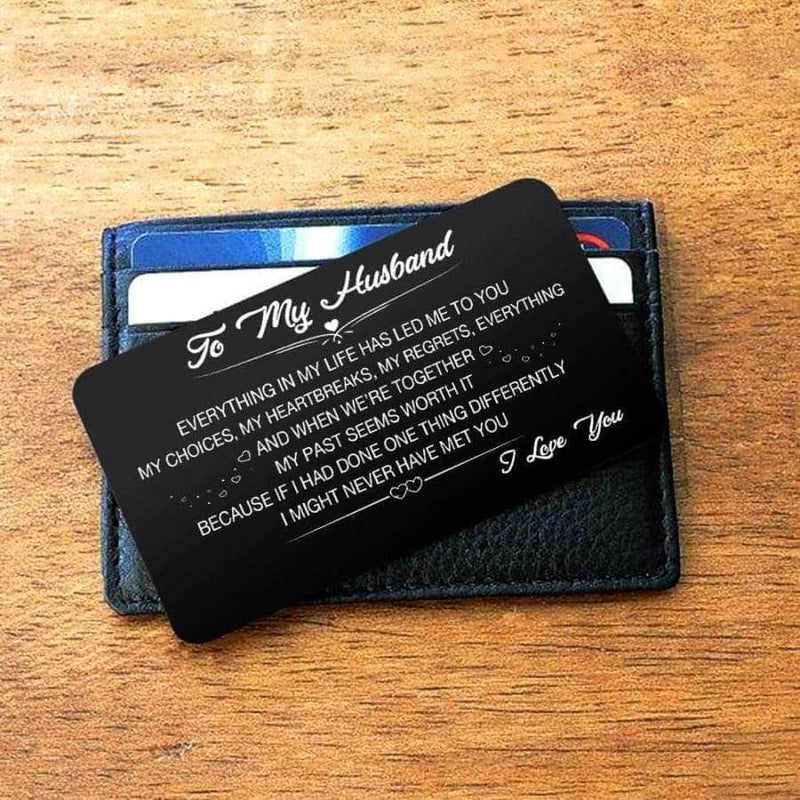 ENGRAVED BLACK WALLET INSERT CARD- TO MY HUSBAND- HAPPILY EVER AFTER - X5434
