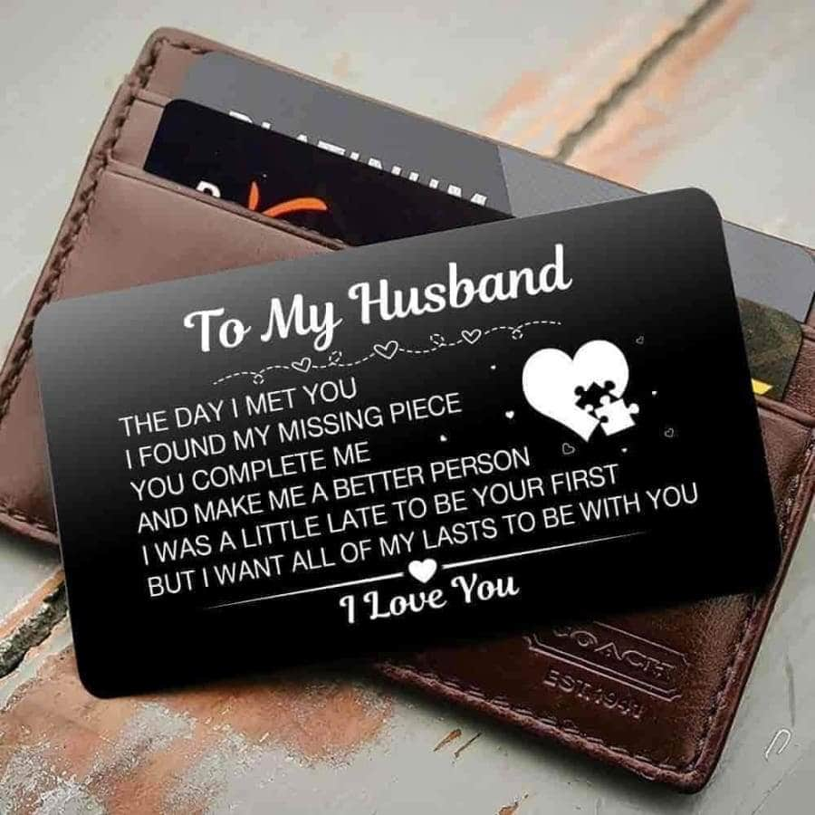 ENGRAVED BLACK WALLET INSERT CARD- TO MY HUSBAND- HAPPILY EVER AFTER - X5435