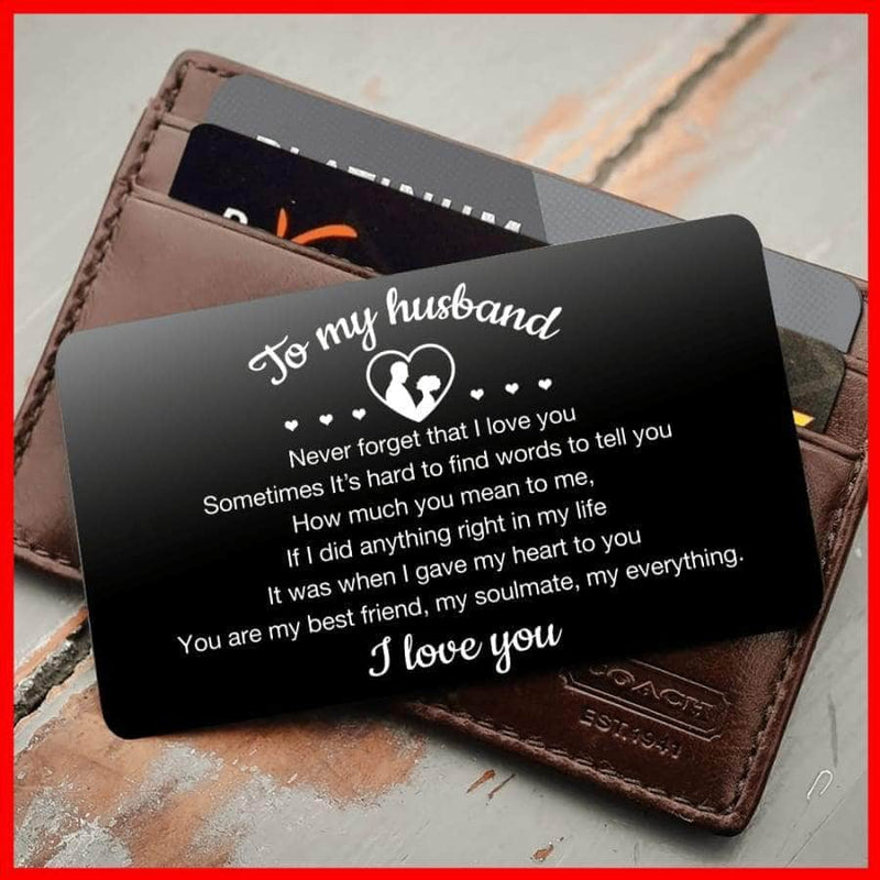 ENGRAVED BLACK WALLET INSERT CARD- TO MY HUSBAND I LOVE YOU - X5409