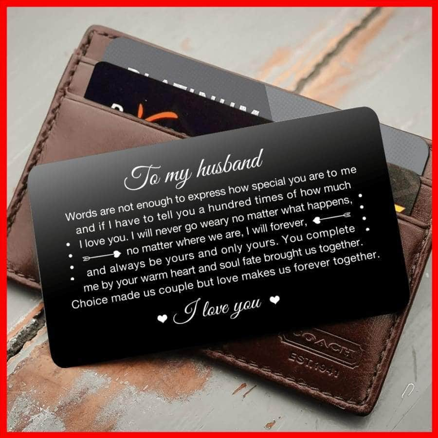 ENGRAVED BLACK WALLET INSERT CARD- TO MY HUSBAND, I LOVE YOU - X5410