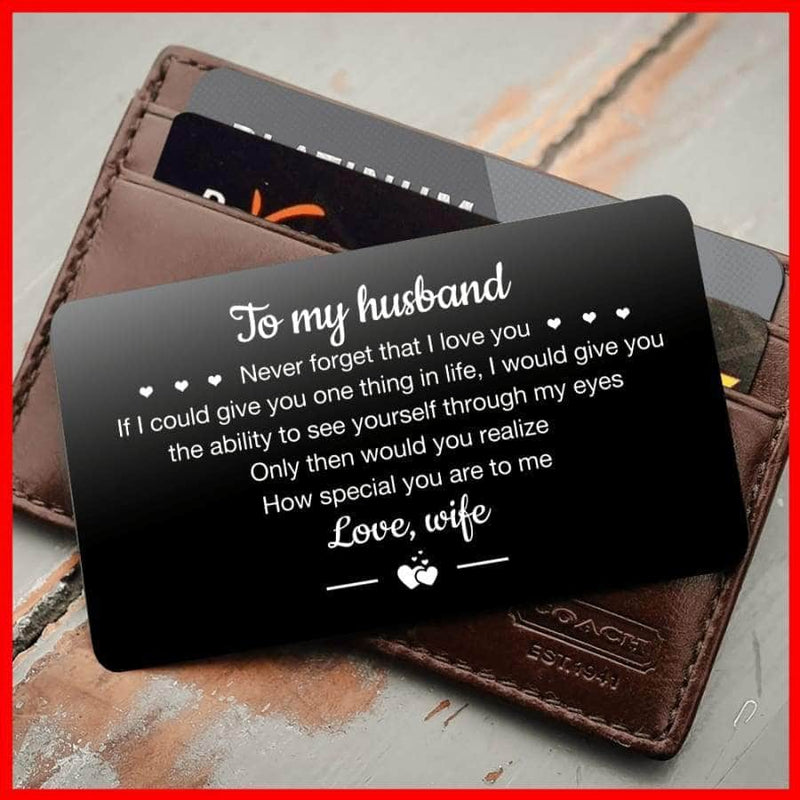 ENGRAVED BLACK WALLET INSERT CARD- TO MY HUSBAND - I LOVE YOU - X5411