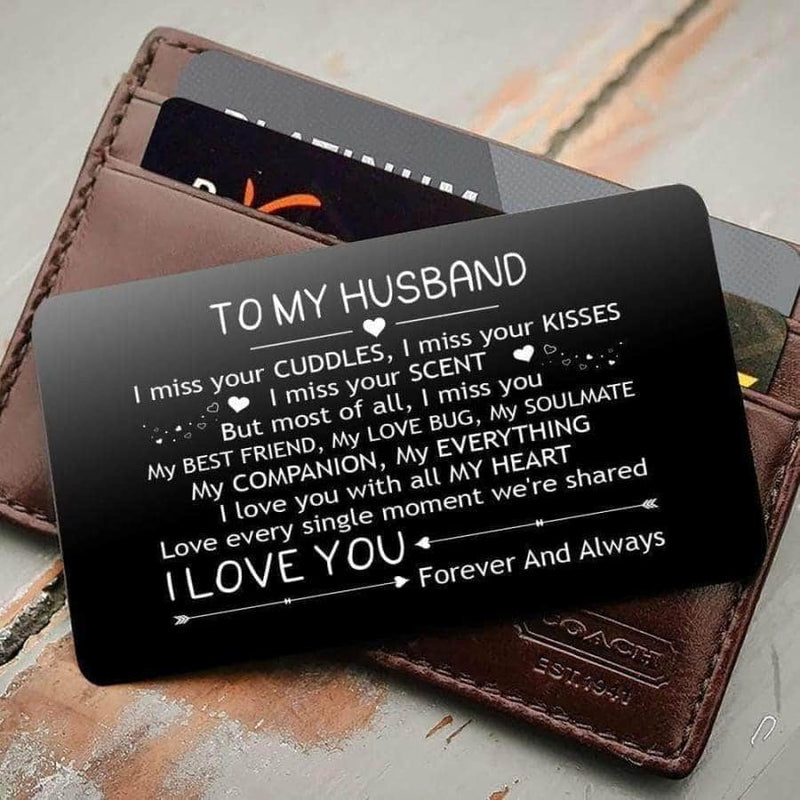 ENGRAVED BLACK WALLET INSERT CARD- TO MY HUSBAND- I LOVE YOU - X5430