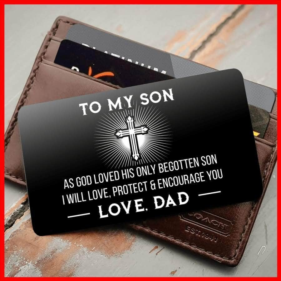 ENGRAVED BLACK WALLET INSERT CARD- TO MY SON, I LOVE YOU - X5403