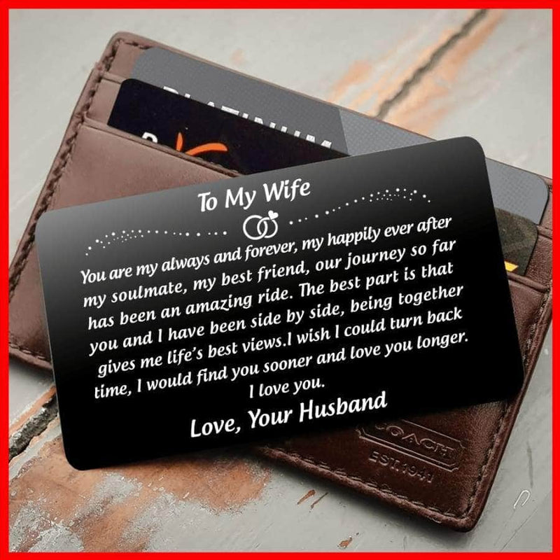 ENGRAVED BLACK WALLET INSERT CARD- TO MY WIFE- HAPPILY EVER AFTER - X5402