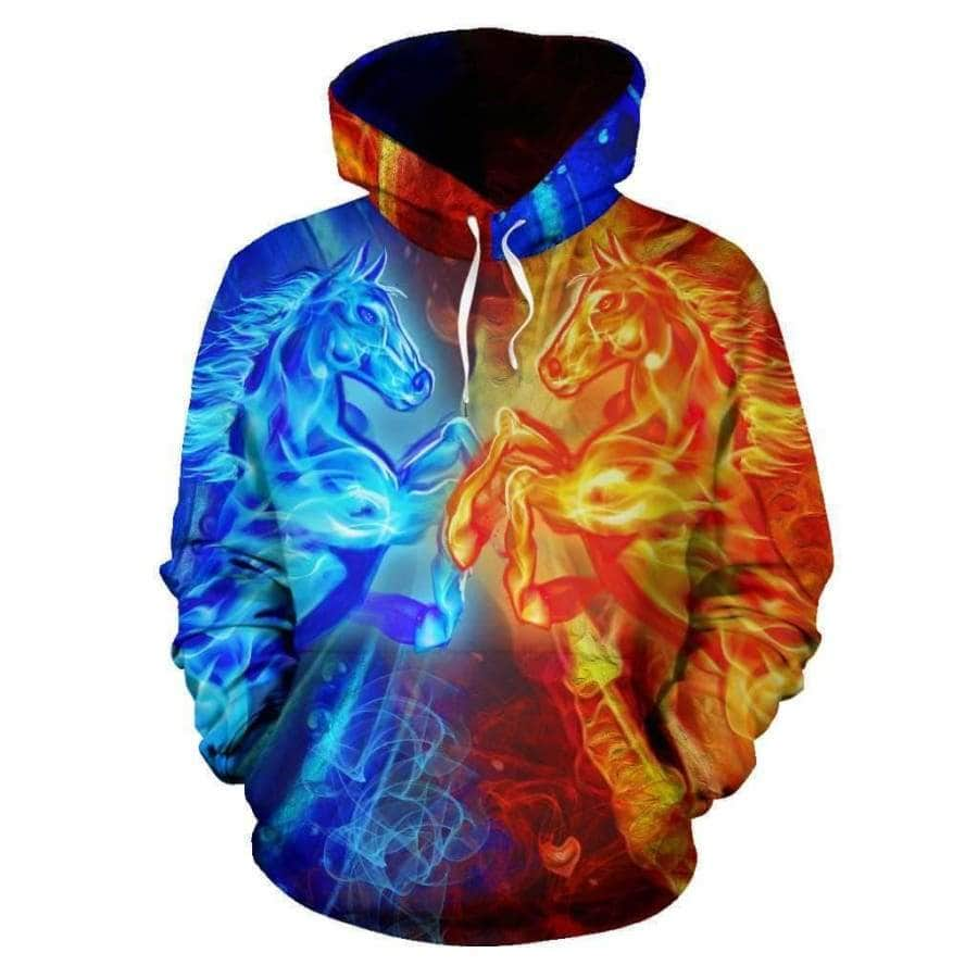 Fire and Water Horse All Over Hoodie