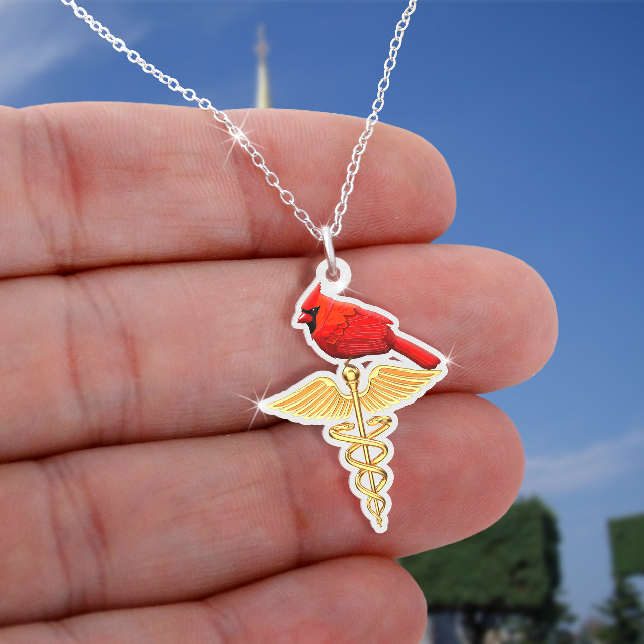 Cardinal bird Caduceus Necklace
