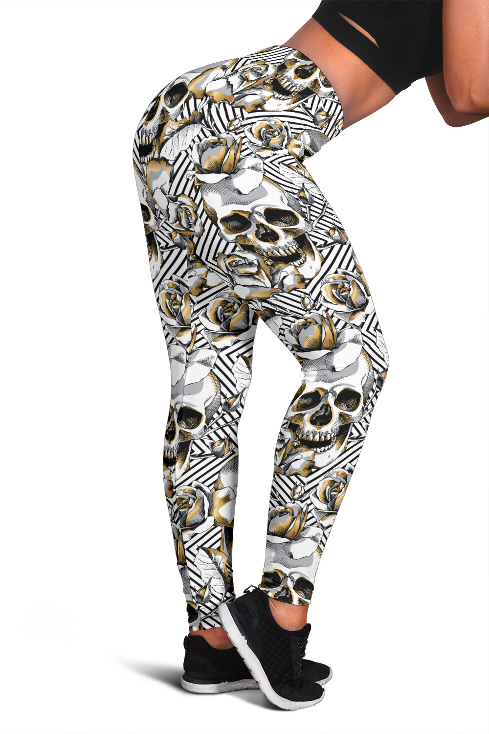 Skull Gold Flower Leggings