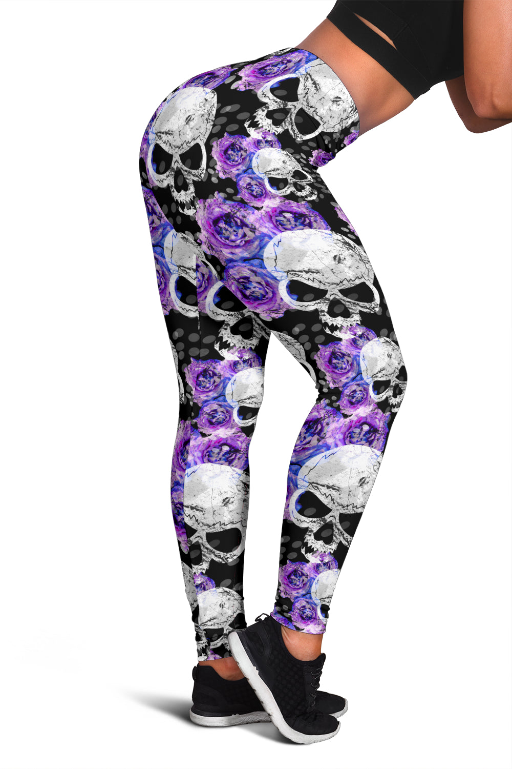 Skull Purple Flower Leggings