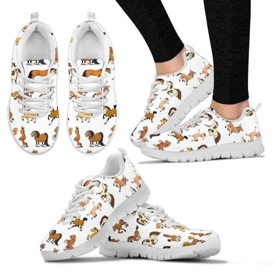 Funny Horse Women's Sneakers (White)