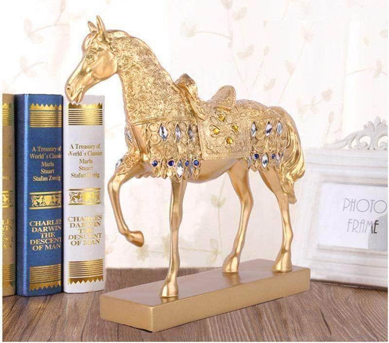 Golden Trotting Horse Statue