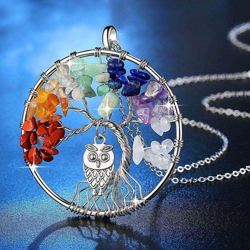 Handmade multi-color stones and tree owl necklace