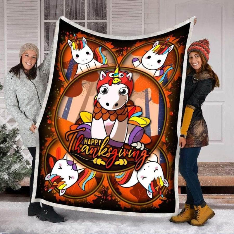 Hapyy Thanksgiving Unicorn - Premium Blanket