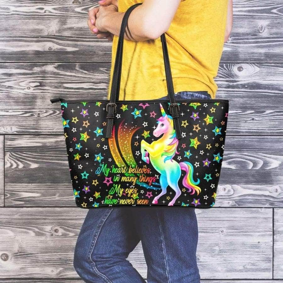 Large Leather Tote Bag - Unicorn