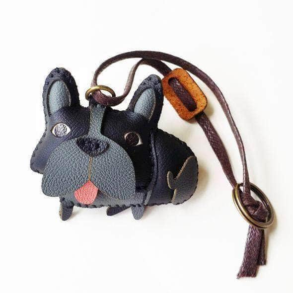 LEATHER CHARM GREY FRENCHIE