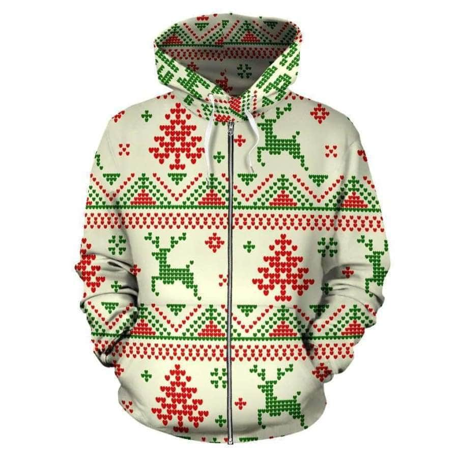 Merry Christmas - All Over Zip-up Hoodie