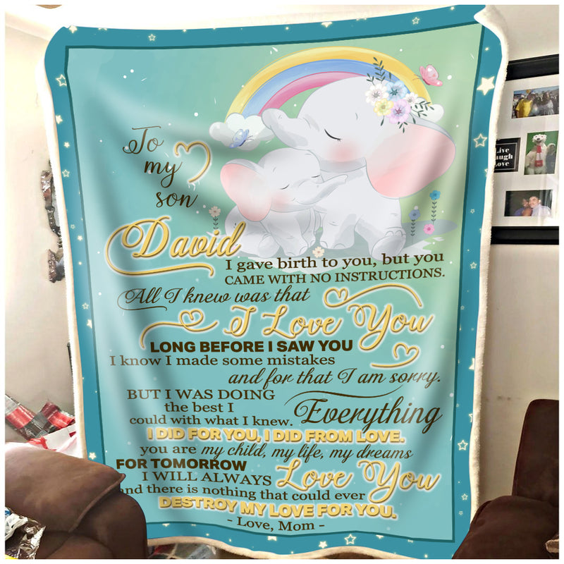 To my Son Elephant Custom blanket