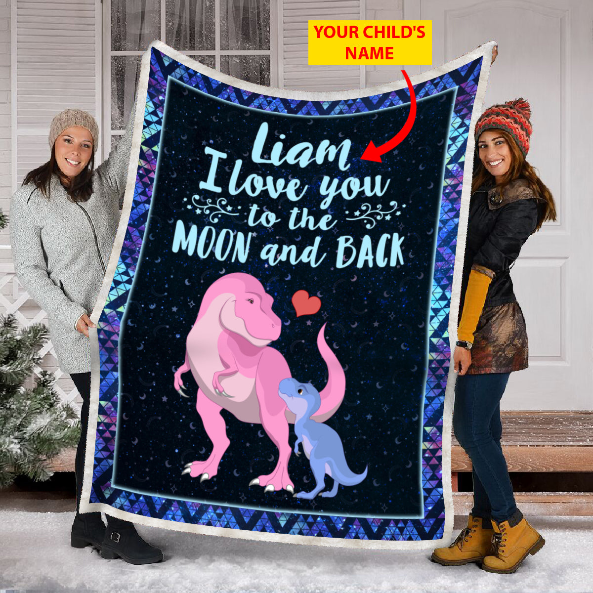 Dinosaur - I Love You - Custom Boy Name Blanket