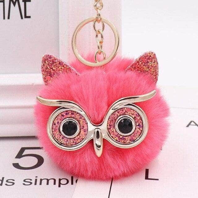 Owl Fur Ball Keyring