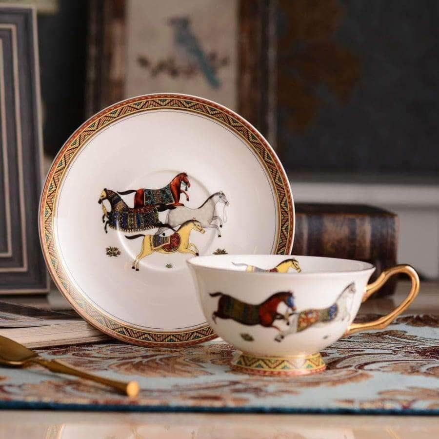 Porcelain tea cup and saucer Horse design