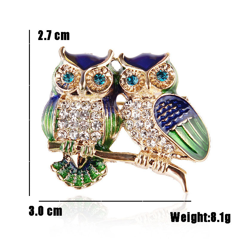 Blue Eyes Rhinestone Couple Owl Brooch