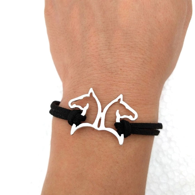 Horse Bangle Bracelet Leather Couple Great Gift For Horse Lover.
