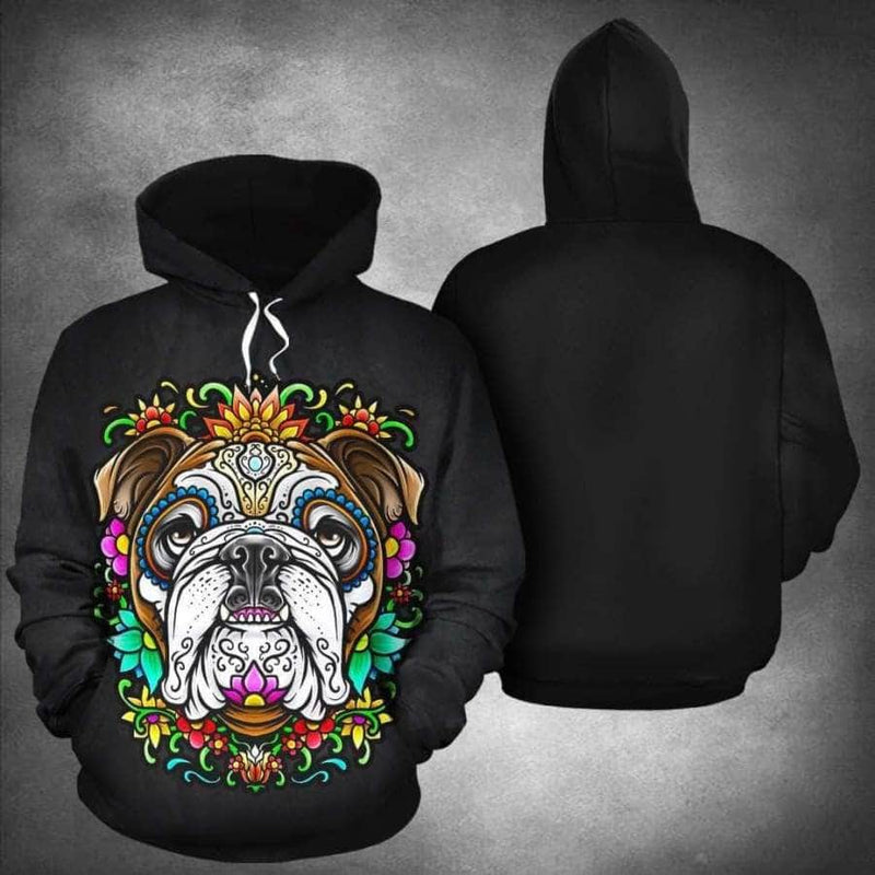 Pug Dog Skull All Over 3D Hoodie