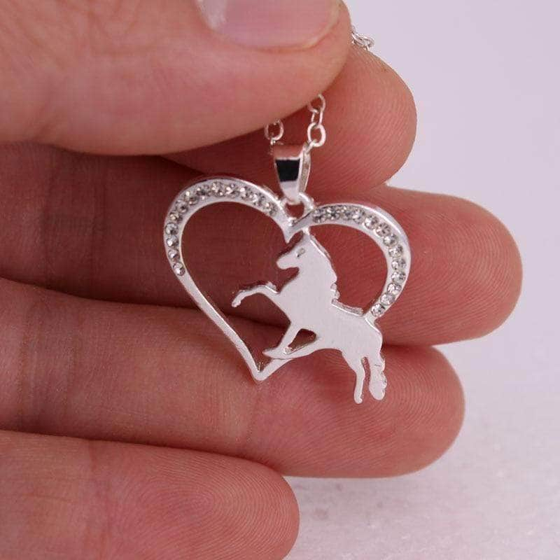 Running Horse and Heart Pendant Necklace