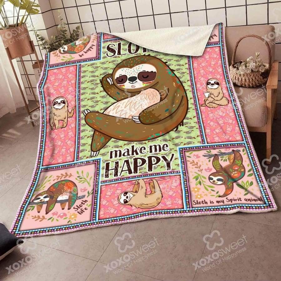Sloth make me happy - Blanket