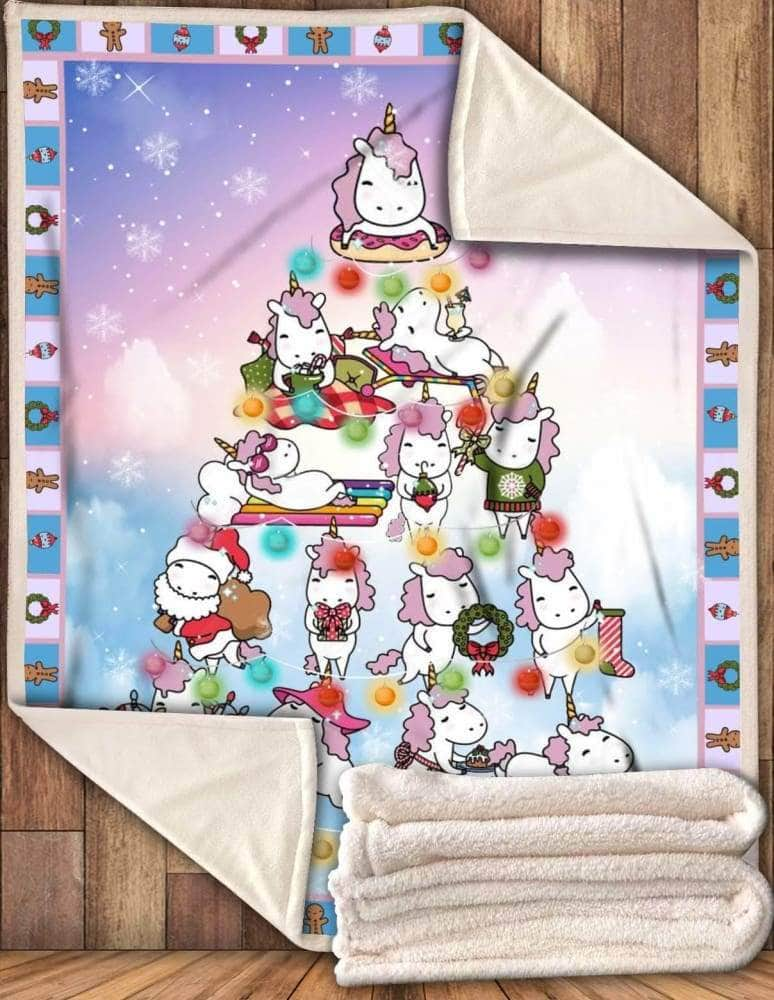 Unicorn Christmas Tree - Premium Blanket