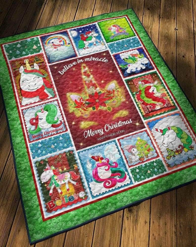 Unicorn Merry Christmas - Quilt
