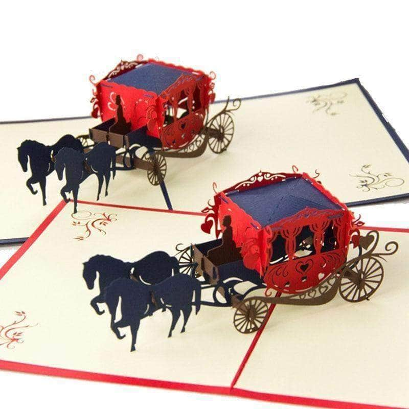 Unique 3D Laser Cut Handmade Carving Horse Carriage Paper Invitation Greeting Cards