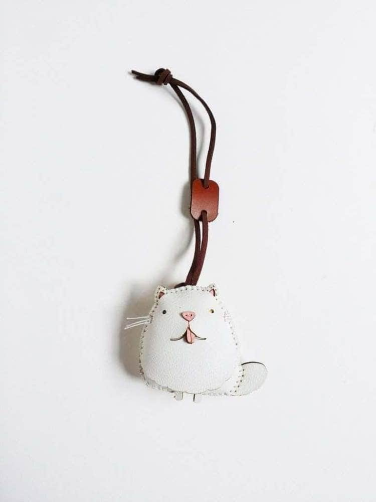 White Cat Handmade Leather Charm