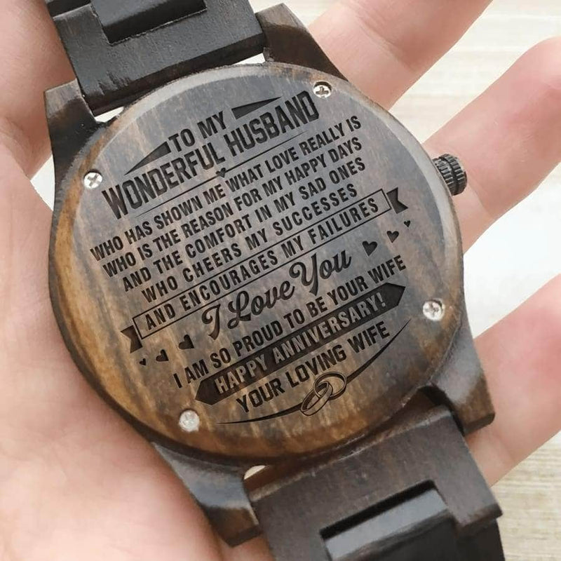 Wooden Watch - TO MY HUSBAND I AM SO PROUD TO BE YOUR WIFE