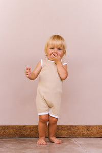 The Ribbed Romper - Beige
