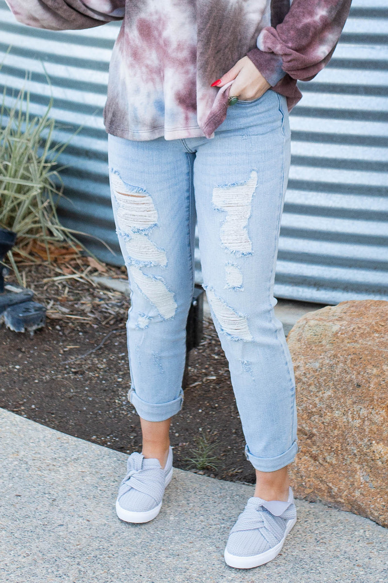 Beach Washed Distressed Boyfriend Judy Blues