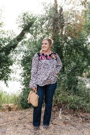 Stay Fabulous Leopard Embroidered Top