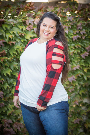 Lattice Red Plaid Long Sleeve Top in Ivory