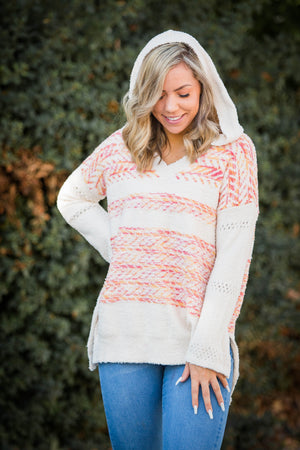 Broken Arrow Hooded Knit Sweater