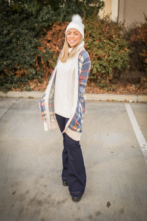 Winter Plaid Sweater Cardigan