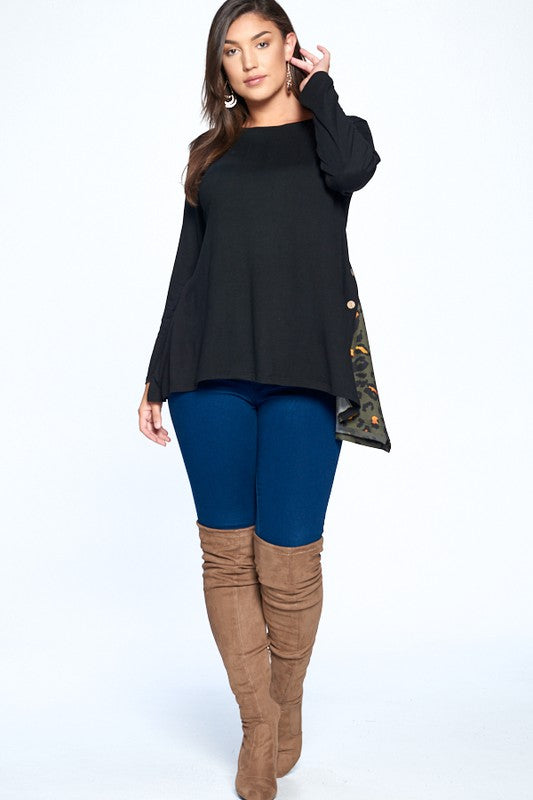 #821 Kasey's side button tunic top (FINAL SALE)