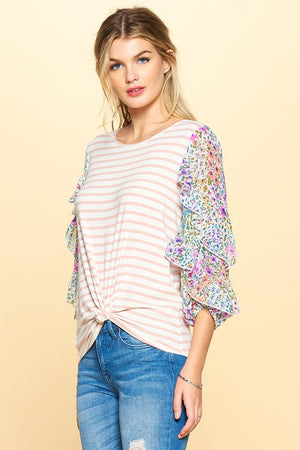 #811 Stripes & floral ruffle sleeve top (FINAL SALE)