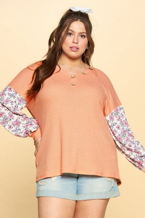 #812 Spring fun waffle knit top (FINAL SALE)