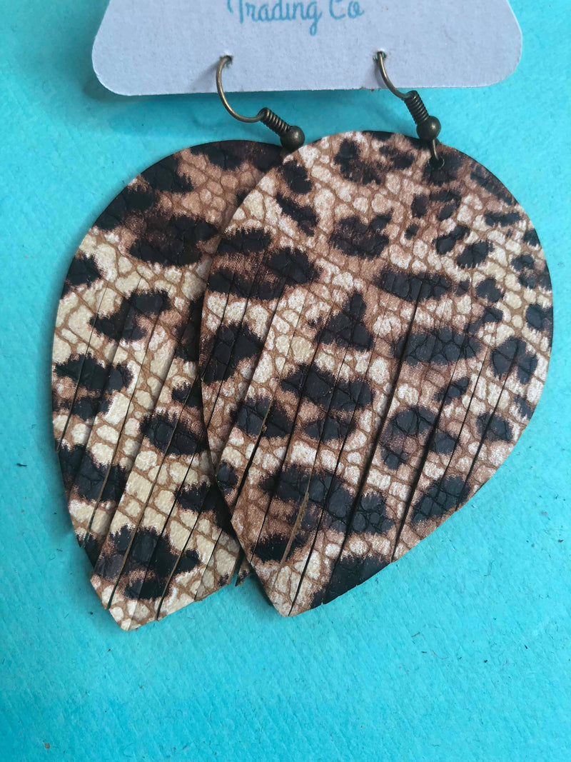 Leopard print fringe leather earrings