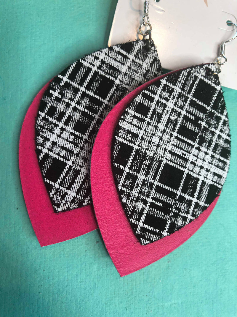 Hot pink & plaid sterling silver & leather earrings