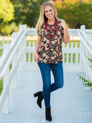 #252 Summer floral & lace back top