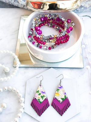 Mini Neon Purple Floral Fringe