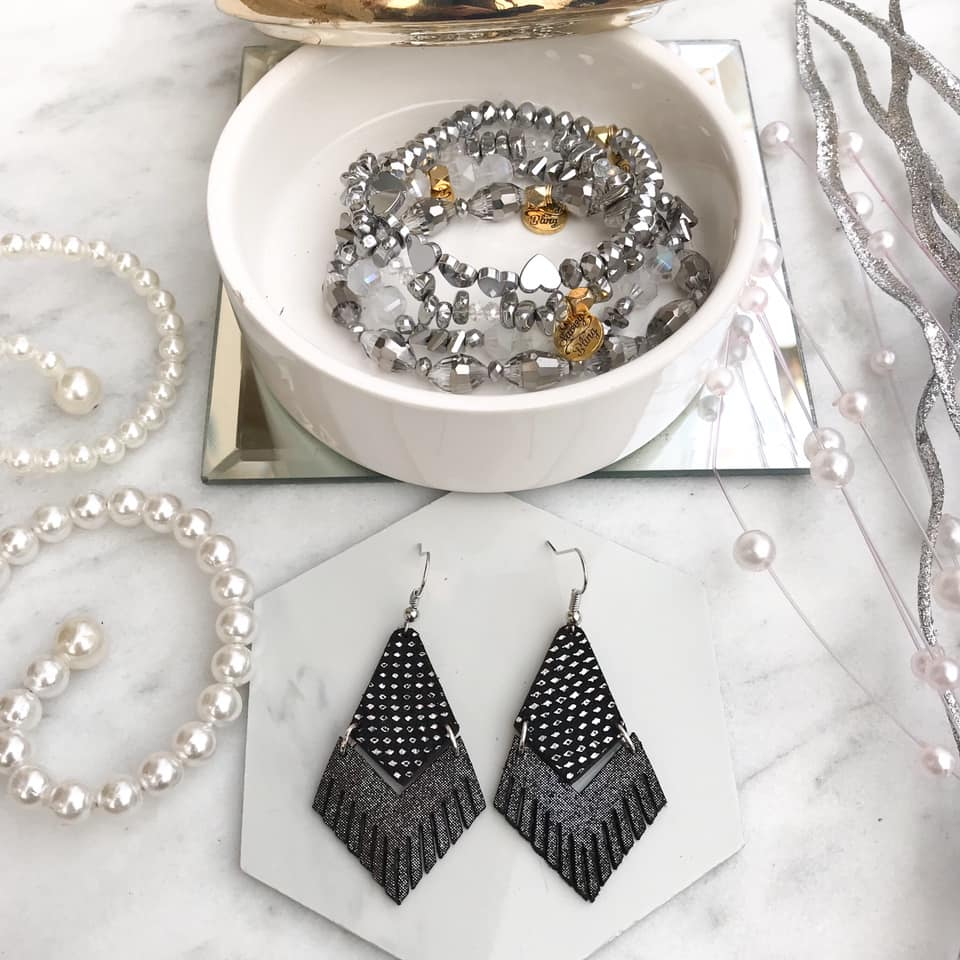 Gunmetal shimmer Holo Drops Earrings